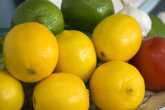 Lemons Limes Tomato Garlic Bowl Detail Stock Images