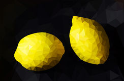 Lemons Low-poly triangular style. Royalty Free Stock Photo