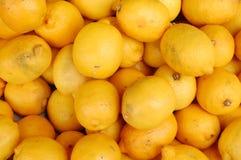 Lemons on the market royalty free stock photography