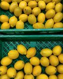 Lemons in market baskets stock photos