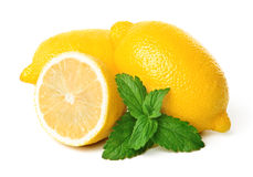 Lemons and mint. Isolated on white background Royalty Free Stock Images