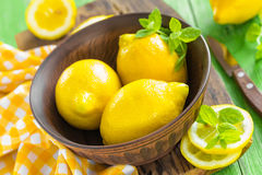 Lemons. And mint in a bowl Royalty Free Stock Photo