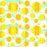 Lemons and oranged slices seamless pattern splash background Royalty Free Stock Photos