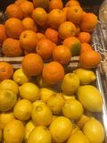 Lemons and oranges. Heap of lemons and oranges for sale Royalty Free Stock Photos