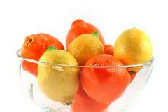 Lemons and oranges isolated Royalty Free Stock Photo