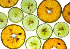 Lemons and oranges slices on white background Royalty Free Stock Images