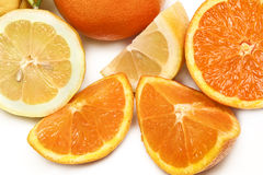 Lemons and oranges. On a white background for healthy eating Stock Photo