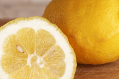 Lemons from organic farming, one cutted Royalty Free Stock Image