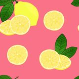 Lemons pattern with leaves on a pink background. vector illustration