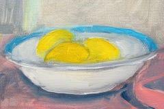 Lemons in plate paintings. Lemons in plate oil paintings on canvas Stock Photo