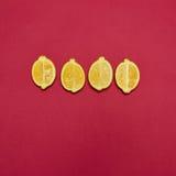 Lemons on red background Stock Photos