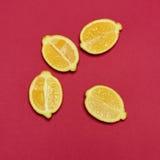 Lemons on red background Stock Image