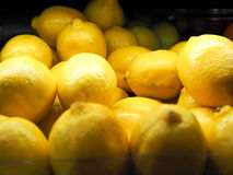 Lemons for sale in a supermarket.  Royalty Free Stock Image