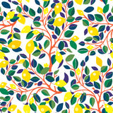 Lemons seamless pattern - design with leaves Royalty Free Stock Photography