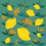 Lemons seamless. Vector pattern with lemons and leaves Stock Photo