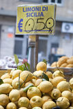Lemons of sicily for sale. On the ballaro market royalty free stock photos