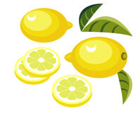 Lemons with slices. Illustration of lemons with slices and leaves Stock Images