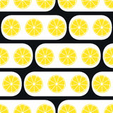 Lemons slices with black modern ornament Royalty Free Stock Photos