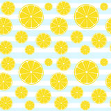 Lemons slices blue white striped seamless pattern Stock Photography