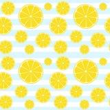 Lemons slices blue white striped seamless pattern. Lemons slices on blue white striped seamless pattern Stock Photography