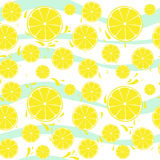 Lemons slices seamless pattern splash on blue white Stock Image