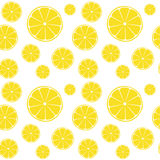 Lemons slices on white seamless pattern. Background Stock Photo