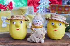Lemons and snowman at Christmas Stock Photos