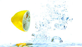 Lemons splash Stock Image