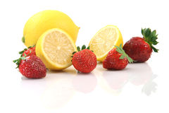 Lemons and strawberries Royalty Free Stock Photos