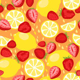 Lemons and Strawberries Seamless Pattern Stock Photo