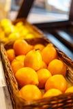 Lemons in  supermarket shelf. Royalty Free Stock Photo