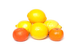 Lemons and tangerines Stock Photos