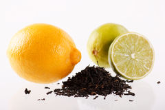 Lemons with tea. On the table Royalty Free Stock Images