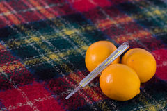 Lemons and thermometer Royalty Free Stock Photo