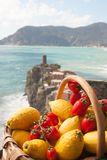 Lemons and tomatos fruits with Doria castle in Vernazza - La Spe royalty free stock photography