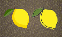Lemons. Two simple images of lemons, with contours and without contours Stock Photography