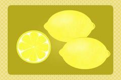 Lemons. Two lemons on a yellow background with pattern. Retro theme Stock Photo