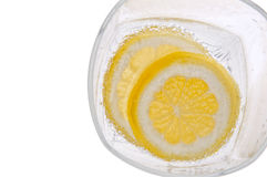 Lemons in Water with Bubbles Border Royalty Free Stock Images