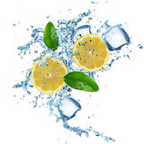 Lemons in water splash Royalty Free Stock Images