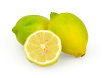 Lemons on white. Background with clipping path stock image