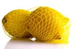 Lemons whole in a net Stock Image