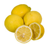 Lemons whole and sliced isolated Royalty Free Stock Photos