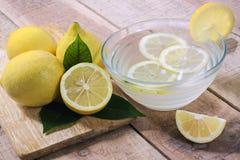Lemons on wood background Stock Photo