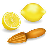 Lemons and Wood Lemon Reamer Royalty Free Stock Image