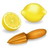 Lemons and Wood Lemon Reamer Royalty Free Stock Image