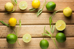 Lemons on wooden background. Top view Royalty Free Stock Image