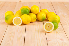 Lemons on the wooden floor. Stock Photo