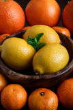 Lemons in wooden plate with mandarines, oranges and mint leafs on dark background close-up macro Stock Photo