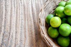 Lemons on wooden table background Stock Image