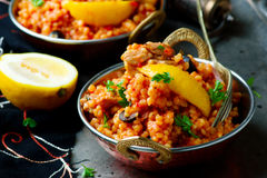Lemony chicken stew giant couscous. Stock Images